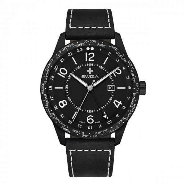 Armbanduhr MAGNUS GMT PVD schwarz