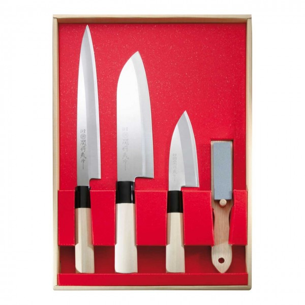 Japanisches KochmesserSet, 3 Messer und Abziehstein,